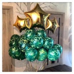 Букет гелиевых шариков в стиле милитари с золотыми звездами