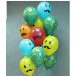 Букет из гелиевых шариков Эмоции Усы с камуфляжными шариками