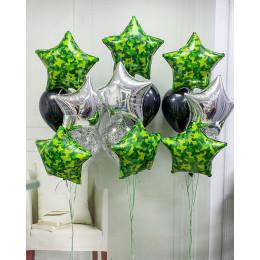 Композиция из гелиевых шаров со звездами милитари из трех фонтанов