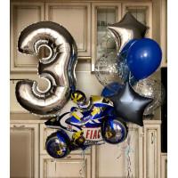 Композиция из шаров с гелием мальчике Мотобайк на три года