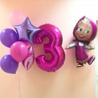 Композиция из гелиевых шаров малышке на три годика с Машей