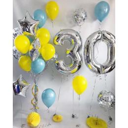 Композиция из гелиевых шаров на 30 лет дочери с серебряными цифрами и звездами