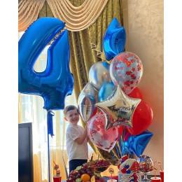 Композиция из шариков Звездная на четыре года сыночку