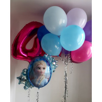 Композиция из воздушных шаров девочке на 4 годика с фигурным шаром Холодное сердце