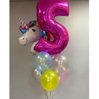 Букет из шаров со сказочным единорогом на пять лет девочке