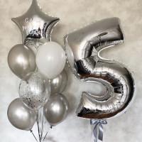 Композиция из шаров серебряные пять лет