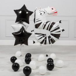 Сет из гелиевых шаров с цифрой 5 зеброй и звездами