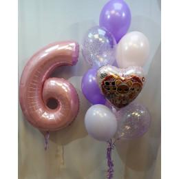 Композиция из воздушных шаров с героями м/ф Куклы Лол на шестилетие девочке