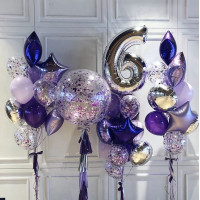 Композиция из шариков на шесть лет с большим шаром с конфетти
