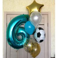 Композиция из шариков на шесть лет с футбольным мячом