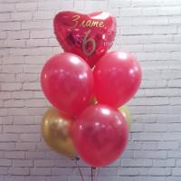 Букет из шариков с сердцем и вашими поздравлениями на шесть лет