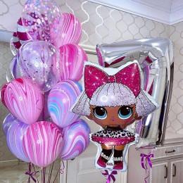 Композиция из шариков с гелием кукла Лол Дива на семилетие девочке