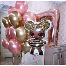 Композиция из гелиевых шаров с куклой Лол Королевой пчел на День Рождения