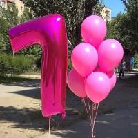 Набор шариков в розовом цвете на семь лет