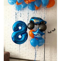 Композиция из гелевых шариков сыну на восемь лет с внедорожником