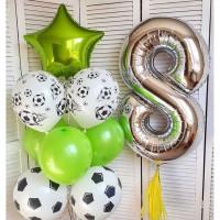 Композиция из шариков с футбольными мячами на 8 лет