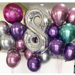 Композиция из шаров хром на восьмой День Рождения дочке со сферой