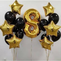Сет из шариков черно-золотой на восемь лет