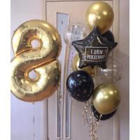 Композиция из воздушных шариков на восьмилетие со звездочками