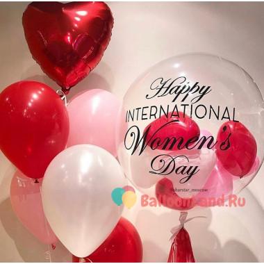 Композиция из воздушных шариков на Международный Женский День с шарами в шаре и сердцем
