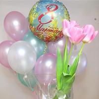 Букет шариков нежных оттенков на 8 марта