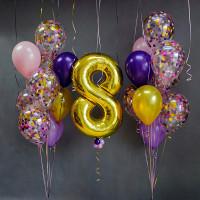 Композиция из шариков с цифрой и двумя букетами с шарами с конфетти