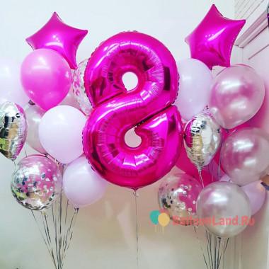 Композиция из воздушных шаров с двумя фонтанами и цифрой