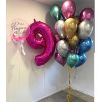 Композиция из шариков хром на девятилетие и шаром с перьями