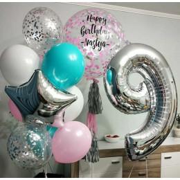 Композиция из шаров доченьке на девять лет с большим шаром с конфетти