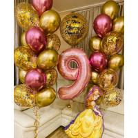Сет из шариков с гелием с Белль, большим шаром с конфетти и двумя фонтанами на 9 лет