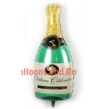Фигурный шар Бутылка шампанского зелёная #2