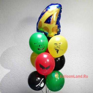 Букет из воздушных шариков Энгри Бердс с цифрой мульти