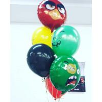Букет гелиевых шариков с главными героями Angry Birds