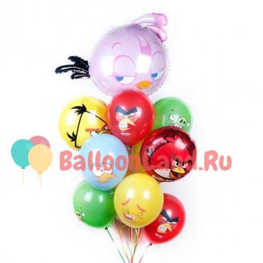 Букет воздушных шаров с птичками из Angry Birds