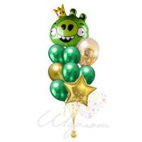 Букет шариков с Королем Свиней Angry Birds