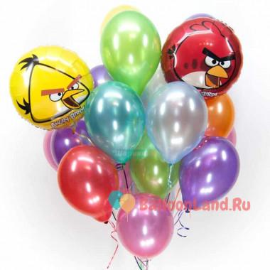 Букет из гелевых шаров с красной и желтой птичками Angry Birds