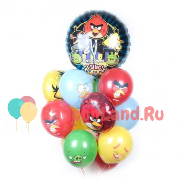 Букет шариков с поющим шаром из мультика Angry Birds