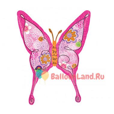 Фигурный шар Бабочка розовая