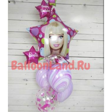 Букет гелевых шаров Барби с шарами с конфетти