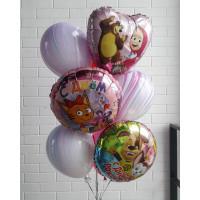 Букет шариков с любимыми мультперсонажами Барбоскины, Три кота, Маша и Медведь