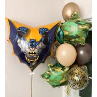 Композиция из гелевых шаров с Бэтменом и камуфляжными звездами