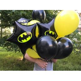 Букет шаров Бэтмен с чёрными звёздами