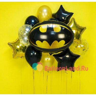 Букет шаров с эмблемой Бэтмена и звёздами