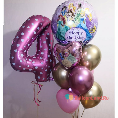 Композиция из гелевых шаров с принцессами Дисней и цифрой на День Рождения