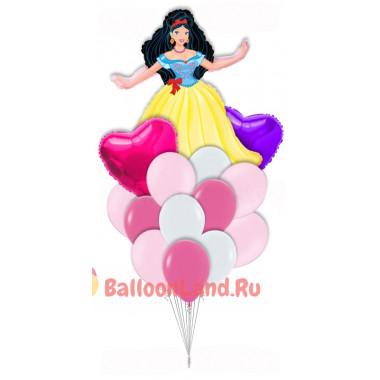Букет воздушных шариков Принцесса Белоснежка с сердцами