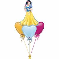 Букет шаров Белоснежка и сердца