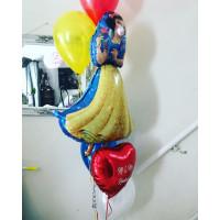 Букет шаров Белоснежка с сердцем с вашими поздравлениями