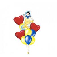 Букет из шариков с гелием Белоснежка с сердцами