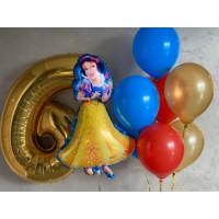 Композиция из шаров на День Рождение с Белоснежкой и цифрой