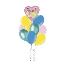 Букет гелиевых шаров с принцессами Дисней - Ариэль, Белль, Золушка, Белоснежка, Спящая красавица, Тиана